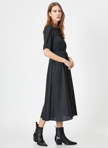 Koton Koton Puantiye Desenli Siyah Midi Elbise Siyah